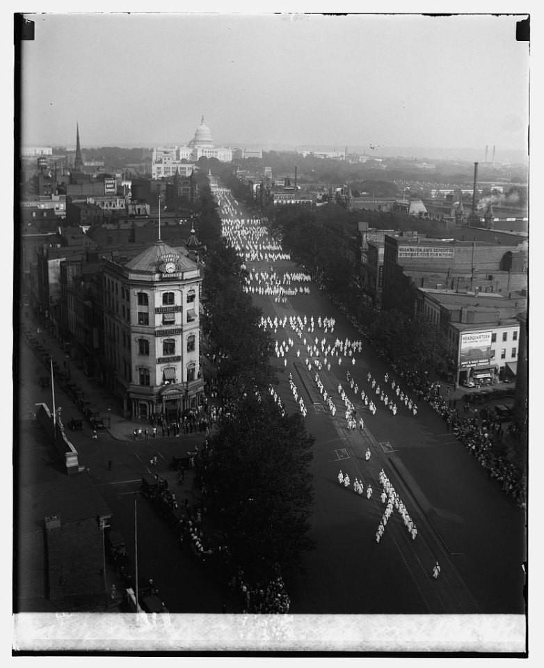 Mișcarea Ku Klux Klan în Washington, 13 septembrie 1926.