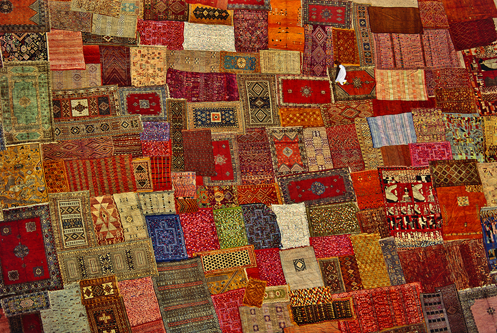 Patchwork of carpets in Marrakech, Morocco.